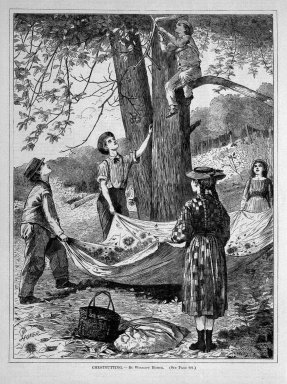 Winslow Homer (American, 1836-1910). <em>Chestnutting</em>, 1870. Wood engraving, Sheet: 11 3/4 x 8 3/4 in. (29.8 x 22.2 cm). Brooklyn Museum, Gift of Harvey Isbitts, 1998.105.157 (Photo: Brooklyn Museum, 1998.105.157_bw.jpg)