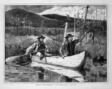 Winslow Homer (American, 1836-1910). <em>Trapping in the Adirondacks</em>, 1870. Wood engraving, Image: 9 1/4 x 12 1/8 in. (23.5 x 30.8 cm). Brooklyn Museum, Gift of Harvey Isbitts, 1998.105.158 (Photo: Brooklyn Museum, 1998.105.158_bw.jpg)