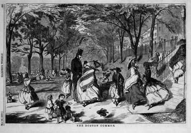 Winslow Homer (American, 1836-1910). <em>The Boston Common</em>, 1858. Wood engraving, Image: 9 1/8 x 13 3/4 in. (23.2 x 34.9 cm). Brooklyn Museum, Gift of Harvey Isbitts, 1998.105.15 (Photo: Brooklyn Museum, 1998.105.15_bw.jpg)