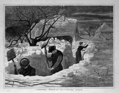 Winslow Homer (American, 1836-1910). <em>A Winter-Morning,--Shovelling Out</em>, 1871. Wood engraving, Image: 9 1/4 x 12 1/8 in. (23.5 x 30.8 cm). Brooklyn Museum, Gift of Harvey Isbitts, 1998.105.164 (Photo: Brooklyn Museum, 1998.105.164_bw.jpg)