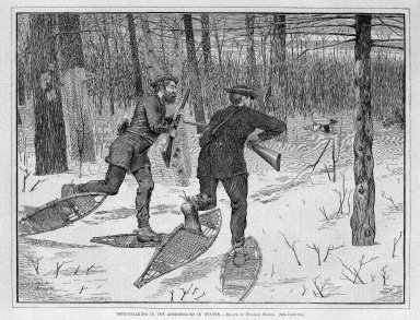 Winslow Homer (American, 1836-1910). <em>Deer-Stalking in the Adirondacks in Winter</em>, 1871. Wood engraving, Image: 9 1/8 x 12 in. (23.2 x 30.5 cm). Brooklyn Museum, Gift of Harvey Isbitts, 1998.105.165 (Photo: Brooklyn Museum, 1998.105.165_bw_SL1.jpg)