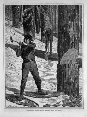 Winslow Homer (American, 1836-1910). <em>Lumbering in Winter</em>, 1871. Wood engraving, Image: 12 1/8 x 9 1/8 in. (30.8 x 23.2 cm). Brooklyn Museum, Gift of Harvey Isbitts, 1998.105.166 (Photo: Brooklyn Museum, 1998.105.166_bw.jpg)