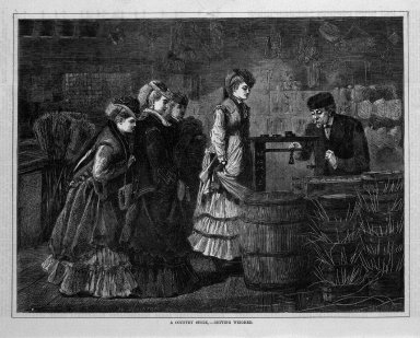 "Winslow Homer (American, 1836-1910). <em>""A Country Store--Getting Weighed,""</em> 1871. Wood engraving, Image: 9 1/8 x 12 in. (23.2 x 30.5 cm). Brooklyn Museum, Gift of Harvey Isbitts, 1998.105.168 (Photo: Brooklyn Museum, 1998.105.168_bw.jpg)"