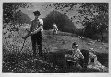 Winslow Homer (American, 1836-1910). <em>Making Hay</em>, 1872. Wood engraving, Image: 9 1/4 x 14 in. (23.5 x 35.6 cm). Brooklyn Museum, Gift of Harvey Isbitts, 1998.105.171 (Photo: Brooklyn Museum, 1998.105.171_bw.jpg)