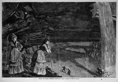 Winslow Homer (American, 1836-1910). <em>Under the Falls, Catskill Mountains</em>, 1872. Wood engraving, Image: 9 1/4 x 13 7/8 in. (23.5 x 35.2 cm). Brooklyn Museum, Gift of Harvey Isbitts, 1998.105.172 (Photo: Brooklyn Museum, 1998.105.172_bw.jpg)