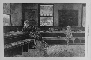 Winslow Homer (American, 1836-1910). <em>The Noon Recess</em>, 1873. Wood engraving, Image: 9 1/8 x 13 5/8 in. (23.2 x 34.6 cm). Brooklyn Museum, Gift of Harvey Isbitts, 1998.105.174 (Photo: Brooklyn Museum, 1998.105.174_bw.jpg)