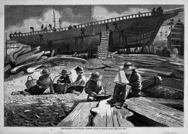 Winslow Homer (American, 1836-1910). <em>Ship-Building, Gloucester Harbor</em>, 1873. Wood engraving, Image: 9 3/8 x 13 5/8 in. (23.8 x 34.6 cm). Brooklyn Museum, Gift of Harvey Isbitts, 1998.105.180 (Photo: Brooklyn Museum, 1998.105.180_bw.jpg)
