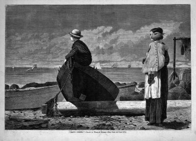 "Winslow Homer (American, 1836-1910). <em>""Dad's Coming!,""</em> 1873. Wood engraving, Image: 9 1/4 x 13 5/8 in. (23.5 x 34.6 cm). Brooklyn Museum, Gift of Harvey Isbitts, 1998.105.181 (Photo: Brooklyn Museum, 1998.105.181_bw.jpg)"