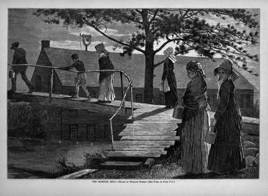 Winslow Homer (American, 1836-1910). <em>The Morning Bell</em>, 1873. Wood engraving, Image: 9 1/4 x 13 1/2 in. (23.5 x 34.3 cm). Brooklyn Museum, Gift of Harvey Isbitts, 1998.105.183 (Photo: Brooklyn Museum, 1998.105.183_bw.jpg)