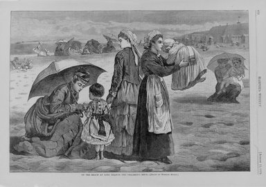 Winslow Homer (American, 1836-1910). <em>On the Beach at Long Branch--The Children's Hour</em>, 1874. Wood engraving, Image: 9 1/4 x 13 5/8 in. (23.5 x 34.6 cm). Brooklyn Museum, Gift of Harvey Isbitts, 1998.105.190 (Photo: Brooklyn Museum, 1998.105.190_bw.jpg)
