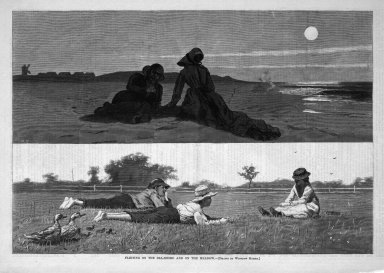 Winslow Homer (American, 1836-1910). <em>Flirting on the Sea-Shore and on the Meadow</em>, 1874. Wood engraving, Image: 9 1/4 x 13 5/8 in. (23.5 x 34.6 cm). Brooklyn Museum, Gift of Harvey Isbitts, 1998.105.194 (Photo: Brooklyn Museum, 1998.105.194_bw.jpg)