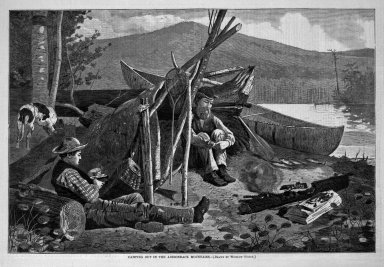 Winslow Homer (American, 1836-1910). <em>Camping Out in the Adirondack Mountains</em>, 1874. Wood engraving, Image: 9 1/8 x 13 3/4 in. (23.2 x 34.9 cm). Brooklyn Museum, Gift of Harvey Isbitts, 1998.105.195 (Photo: Brooklyn Museum, 1998.105.195_bw.jpg)