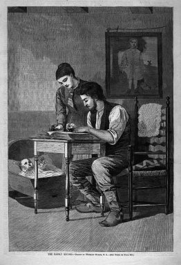 Winslow Homer (American, 1836-1910). <em>The Family Record</em>, 1875. Wood engraving, Image: 13 5/8 x 9 1/8 in. (34.6 x 23.2 cm). Brooklyn Museum, Gift of Harvey Isbitts, 1998.105.197 (Photo: Brooklyn Museum, 1998.105.197_bw.jpg)