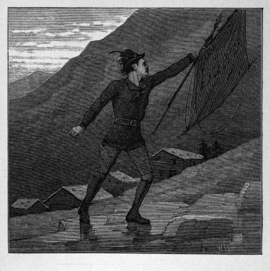 """Winslow Homer (American, 1836-1910). <em>""""A Youth, who bore, 'mid snow and ice, / A banner with the strange device, Excelsior,""""</em> 1878. Wood engraving, Image: 3 1/8 x 3 1/4 in. (7.9 x 8.3 cm). Brooklyn Museum, Gift of Harvey Isbitts, 1998.105.198 (Photo: Brooklyn Museum, 1998.105.198_bw.jpg)"""