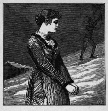 "Winslow Homer (American, 1836-1910). <em>"" 'O Stay!' the maiden said,""</em> 1878. Wood engraving, Image: 2 1/8 x 2 1/8 in. (5.4 x 5.4 cm). Brooklyn Museum, Gift of Harvey Isbitts, 1998.105.200 (Photo: Brooklyn Museum, 1998.105.200_bw.jpg)"