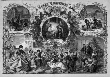 Winslow Homer (American, 1836-1910). <em>A Merry Christmas and a Happy New Year</em>, 1859. Wood engraving, Image: 13 7/8 x 20 1/4 in. (35.2 x 51.4 cm). Brooklyn Museum, Gift of Harvey Isbitts, 1998.105.31 (Photo: Brooklyn Museum, 1998.105.31_bw.jpg)