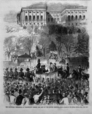 Winslow Homer (American, 1836-1910). <em>The Inaugural Procession at Washington Passing the Gate of the Capitol Grounds</em>, 1861. Wood engraving, Image: 11 x 9 1/8 in. (27.9 x 23.2 cm). Brooklyn Museum, Gift of Harvey Isbitts, 1998.105.50 (Photo: Brooklyn Museum, 1998.105.50_bw.jpg)