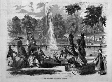Winslow Homer (American, 1836-1910). <em>The Fountain on Boston Common</em>, 1857. Wood engraving, Sheet: 15 x 11 1/8 in. (38.1 x 28.3 cm). Brooklyn Museum, Gift of Harvey Isbitts, 1998.105.5 (Photo: Brooklyn Museum, 1998.105.5_bw.jpg)