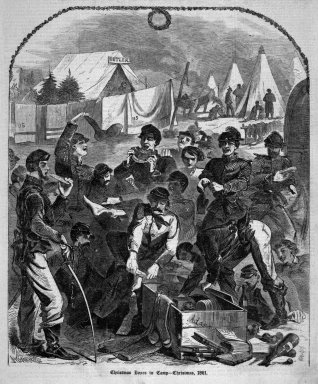 Winslow Homer (American, 1836-1910). <em>Christmas Boxes in Camp--Christmas, 1861</em>, 1862. Wood engraving, Image: 11 1/8 x 9 1/8 in. (28.3 x 23.2 cm). Brooklyn Museum, Gift of Harvey Isbitts, 1998.105.66 (Photo: Brooklyn Museum, 1998.105.66_bw.jpg)