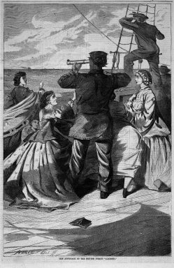 "Winslow Homer (American, 1836-1910). <em>The Approach of the British Pirate ""Alabama,""</em> 1863. Wood engraving, Image: 13 3/4 x 9 1/8 in. (34.9 x 23.2 cm). Brooklyn Museum, Gift of Harvey Isbitts, 1998.105.81 (Photo: Brooklyn Museum, 1998.105.81_bw.jpg)"