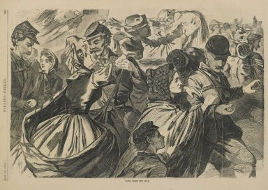 Winslow Homer (American, 1836-1910). <em>Home from the War</em>, 1863. Wood engraving, Illustration:  9 1/8 x  13  7/8  in. Brooklyn Museum, Gift of Harvey Isbitts, 1998.105.82 (Photo: Brooklyn Museum, 1998.105.82_PS2.jpg)