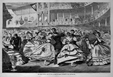 Winslow Homer (American, 1836-1910). <em>The Great Russian Ball at the Academy of Music, November 5, 1863</em>, 1863. Wood engraving, Image: 13 1/4 x 20 3/8 in. (33.7 x 51.8 cm). Brooklyn Museum, Gift of Harvey Isbitts, 1998.105.84 (Photo: Brooklyn Museum, 1998.105.84_bw.jpg)