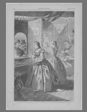 """Winslow Homer (American, 1836-1910). <em>""""Any Thing for Me, If You Please?""""--Post Office of the Brooklyn Fair in Aid of the Sanitary Commission</em>, 1864. Wood engraving, Image: 13 5/8 x 9 in. (34.6 x 22.9 cm). Brooklyn Museum, Gift of Harvey Isbitts, 1998.105.87 (Photo: Brooklyn Museum, 1998.105.87_bw_SL1.jpg)"""