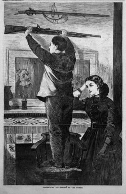 Winslow Homer (American, 1836-1910). <em>Thanksgiving Day--Hanging Up the Musket</em>, 1865. Wood engraving, Sheet: 14 1/4 x 9 1/4 in. (36.2 x 23.5 cm). Brooklyn Museum, Gift of Harvey Isbitts, 1998.105.93 (Photo: Brooklyn Museum, 1998.105.93_bw.jpg)