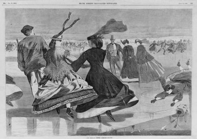 Winslow Homer (American, 1836-1910). <em>Our National Winter Exercise--Skating</em>, 1866. Wood engraving, Image: 13 7/8 x 20 1/4 in. (35.2 x 51.4 cm). Brooklyn Museum, Gift of Harvey Isbitts, 1998.105.96 (Photo: Brooklyn Museum, 1998.105.96_bw.jpg)