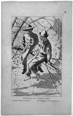 Winslow Homer (American, 1836-1910). <em>Swinging On a Birch-Tree</em>, 1866. Wood engraving, Sheet: 5 7/8 x 3 3/4 in. (14.9 x 9.5 cm). Brooklyn Museum, Gift of Harvey Isbitts, 1998.105.98 (Photo: Brooklyn Museum, 1998.105.98_bw.jpg)