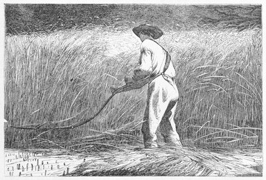 Winslow Homer (American, 1836-1910). <em>The Veteran in a New Field</em>, 1867. Wood engraving, 4 3/16 x 6 1/4 in. (10.6 x 15.9 cm). Brooklyn Museum, Gift of Harvey Isbitts, 1998.105.99 (Photo: Brooklyn Museum, 1998.105.99_bw_SL3.jpg)