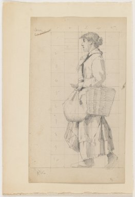 Charles Sprague Pearce (American, 1851-1914). <em>French Peasant Woman</em>, n.d. Graphite on beige thick smooth paper, Sheet: 11 x 6 3/8 in. (27.9 x 16.2 cm). Brooklyn Museum, Emily Winthrop Miles Fund, 1998.112 (Photo: Brooklyn Museum, 1998.112_IMLS_PS3.jpg)