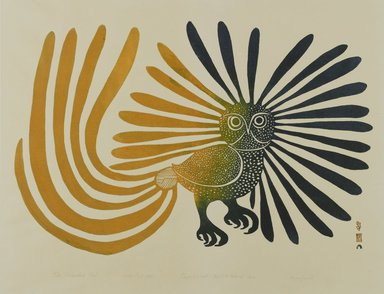 Kenojuak Ashevak (Inuit, 1927-2013). <em>The Enchanted Owl</em>, 1960. Stone cut on paper, Sheet: 21 1/8 x 26 in. (53.7 x 66 cm). Brooklyn Museum, Gift of George Klauber, 1998.122. © artist or artist's estate (Photo: Brooklyn Museum, 1998.122_PS1.jpg)