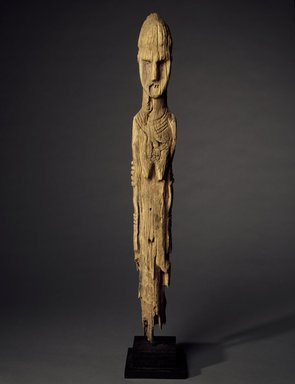 Konso artist. <em>Grave Marker in the Form of a Female Figure</em>, 19th century or earlier. Gayo wood, 39 1/4 x 4 1/4 x 4 1/4 in.  (99.7 x 10.8 x 10.8 cm). Brooklyn Museum, Gift of Serge and Jodie Becker-Patterson