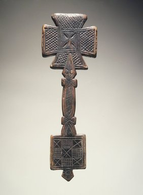 Amhara. <em>Hand Cross (mäsqäl)</em>, 17th or 18th century. Wood, 10 1/2 x 3 1/2 x 1/2 in.  (26.7 x 8.9 x 1.3 cm). Brooklyn Museum, Gift of Miodrag Janjusevic, 1998.126.4. Creative Commons-BY (Photo: Brooklyn Museum, 1998.126.4_transpc005.jpg)