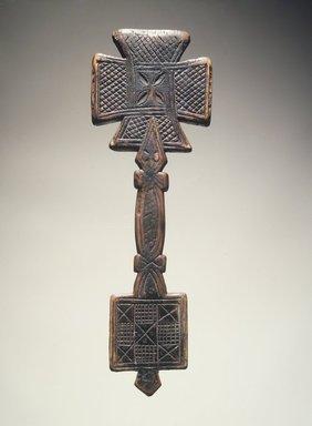 Amhara. <em>Hand Cross (mäsqäl)</em>, 17th or 18th century. Wood, 10 1/2 x 3 1/2 x 1/2 in.  (26.7 x 8.9 x 1.3 cm). Brooklyn Museum, Gift of Miodrag Janjusevic, 1998.126.4. Creative Commons-BY (Photo: Brooklyn Museum, 1998.126.4_transpc005.jpg)