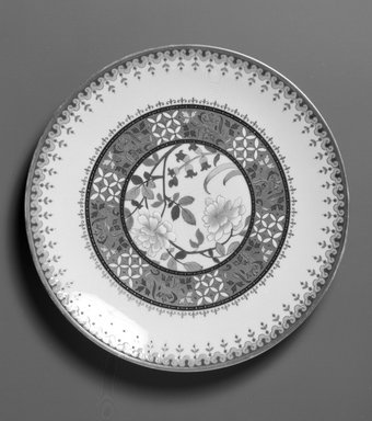 Minton (founded 1793). <em>Plate</em>, ca. 1880. Porcelain, 1 x 9 5/8 x 9 5/8 in. (2.5 x 24.4 x 24.4 cm). Brooklyn Museum, H. Randolph Lever Fund, 1998.141. Creative Commons-BY (Photo: Brooklyn Museum, 1998.141_bw.jpg)