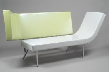 Karim Rashid (Canadian, born Egypt, 1960). <em>Planar Couch</em>, Designed: 1995-1997; Manufactured: 1998. Vinyl, chrome-plated steel, 38 7/8 x 79 3/4 x 33 in. (98.7 x 202.6 x 83.8 cm). Brooklyn Museum, Modernism Benefit Fund, 1998.142. Creative Commons-BY (Photo: Brooklyn Museum, 1998.142.jpg)