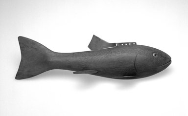 Hans Janner. <em>Fish Decoy, Bass</em>, 1930s. Wood, metals, plastic, 11 3/8 x 3 3/8 x 3 1/8 in.  (28.9 x 8.6 x 7.9 cm). Brooklyn Museum, Gift of the North American Fish Decoy Partners, 1998.148.10. Creative Commons-BY (Photo: Brooklyn Museum, 1998.148.10_bw.jpg)