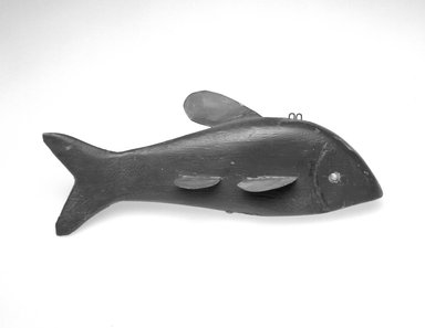 James R. Kelson. <em>Fish Decoy</em>, ca. 1930. Painted wood, metals, 4 3/4 x 11 3/4 x 3 1/4 in.  (12.1 x 29.8 x 8.3 cm). Brooklyn Museum, Gift of the North American Fish Decoy Partners, 1998.148.11. Creative Commons-BY (Photo: Brooklyn Museum, 1998.148.11_bw.jpg)