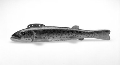 Oscar Peterson. <em>Fish Decoy, Trout</em>, 1940s. Painted wood, metals, 7 1/8 x 1 3/8 x 1 5/8 in.  (18.1 x 3.5 x 4.1 cm). Brooklyn Museum, Gift of the North American Fish Decoy Partners, 1998.148.16. Creative Commons-BY (Photo: Brooklyn Museum, 1998.148.16_bw.jpg)