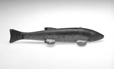 Harry Seymour. <em>Fish Decoy, Speckled Trout</em>, ca. 1890. Painted wood, metals, leather, 9 7/8 x 2 7/8 x 1 3/4 in.  (25.1 x 7.3 x 4.4 cm). Brooklyn Museum, Gift of the North American Fish Decoy Partners, 1998.148.20. Creative Commons-BY (Photo: Brooklyn Museum, 1998.148.20_bw.jpg)