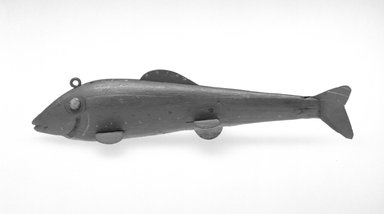 Harry Seymour. <em>Fish Decoy, Trout</em>, ca. 1890. Painted wood, metals, 6 5/8 x 2 1/8 x 1 1/2 in.  (16.8 x 5.4 x 3.8 cm). Brooklyn Museum, Gift of the North American Fish Decoy Partners, 1998.148.22. Creative Commons-BY (Photo: Brooklyn Museum, 1998.148.22_bw.jpg)