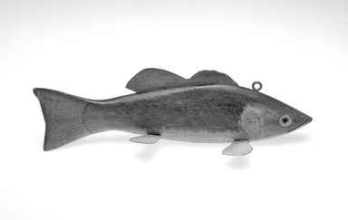Andrew Trombley. <em>Fish Decoy, Bass</em>, 1940s. Painted wood, metals, glass, 9 1/8 x 3 3/8 x 2 7/8 in.  (23.2 x 8.6 x 7.3 cm). Brooklyn Museum, Gift of the North American Fish Decoy Partners, 1998.148.26. Creative Commons-BY (Photo: Brooklyn Museum, 1998.148.26_bw.jpg)