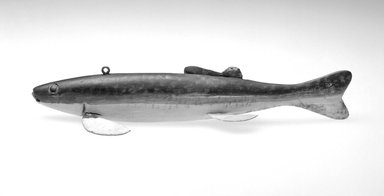 Andrew Trombley. <em>Fish Decoy, Bass</em>, ca. 1950s. Painted wood, metals, 9 5/8 x 2 7/8 x 1 3/4 in.  (24.4 x 7.3 x 4.4 cm). Brooklyn Museum, Gift of the North American Fish Decoy Partners, 1998.148.27. Creative Commons-BY (Photo: Brooklyn Museum, 1998.148.27_bw.jpg)
