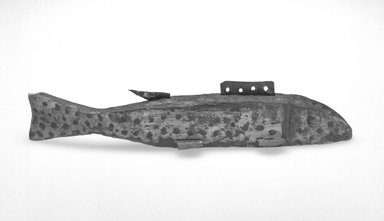 <em>Fish Decoy</em>, ca. 1900. Painted wood, metals, 1 5/8 x 7 7/8 x 1 3/8 in.  (4.1 x 20.0 x 3.5 cm). Brooklyn Museum, Gift of the North American Fish Decoy Partners, 1998.148.29. Creative Commons-BY (Photo: Brooklyn Museum, 1998.148.29_bw.jpg)