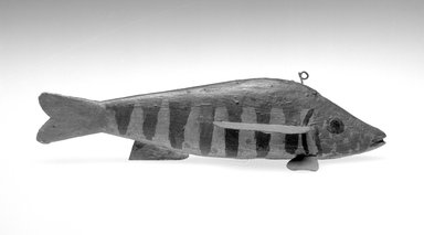 Defer Family. <em>Fish Decoy</em>, ca. 1920. Painted wood, metals, 2 1/2 x 8 3/4 x 2 5/8 in.  (6.4 x 22.2 x 6.7 cm). Brooklyn Museum, Gift of the North American Fish Decoy Partners, 1998.148.3. Creative Commons-BY (Photo: Brooklyn Museum, 1998.148.3_bw.jpg)