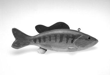 Abraham Goulette. <em>Fish Decoy, Bass</em>, 1930s. Painted wood, metals, glass, 3 3/8 x 9 5/8 x 3 1/4 in.  (8.6 x 24.4 x 8.3 cm). Brooklyn Museum, Gift of the North American Fish Decoy Partners, 1998.148.5. Creative Commons-BY (Photo: Brooklyn Museum, 1998.148.5_bw.jpg)