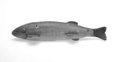 <em>Fish Decoy</em>, 20th century. Painted wood, metal, leather, 6 1/2 x 2 1/8 x 1 3/8 in.  (16.5 x 5.4 x 3.5 cm). Brooklyn Museum, Gift of the North American Fish Decoy Partners, 1998.148.61. Creative Commons-BY (Photo: Brooklyn Museum, 1998.148.61_bw.jpg)