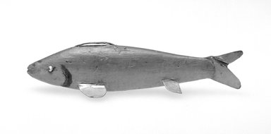 <em>Fish Decoy</em>, 20th century. Painted wood, metal, leather, 4 3/4 x 1 1/8 x 1 1/2 in.  (12.1 x 2.9 x 3.8 cm). Brooklyn Museum, Gift of the North American Fish Decoy Partners, 1998.148.63. Creative Commons-BY (Photo: Brooklyn Museum, 1998.148.63_bw.jpg)